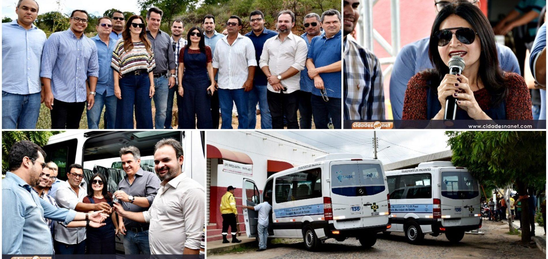 PIO IX│Ao lado da prefeita Regina, senador Ciro autoriza obras no açude Cajazeiras e entrega duas vans à Saúde
