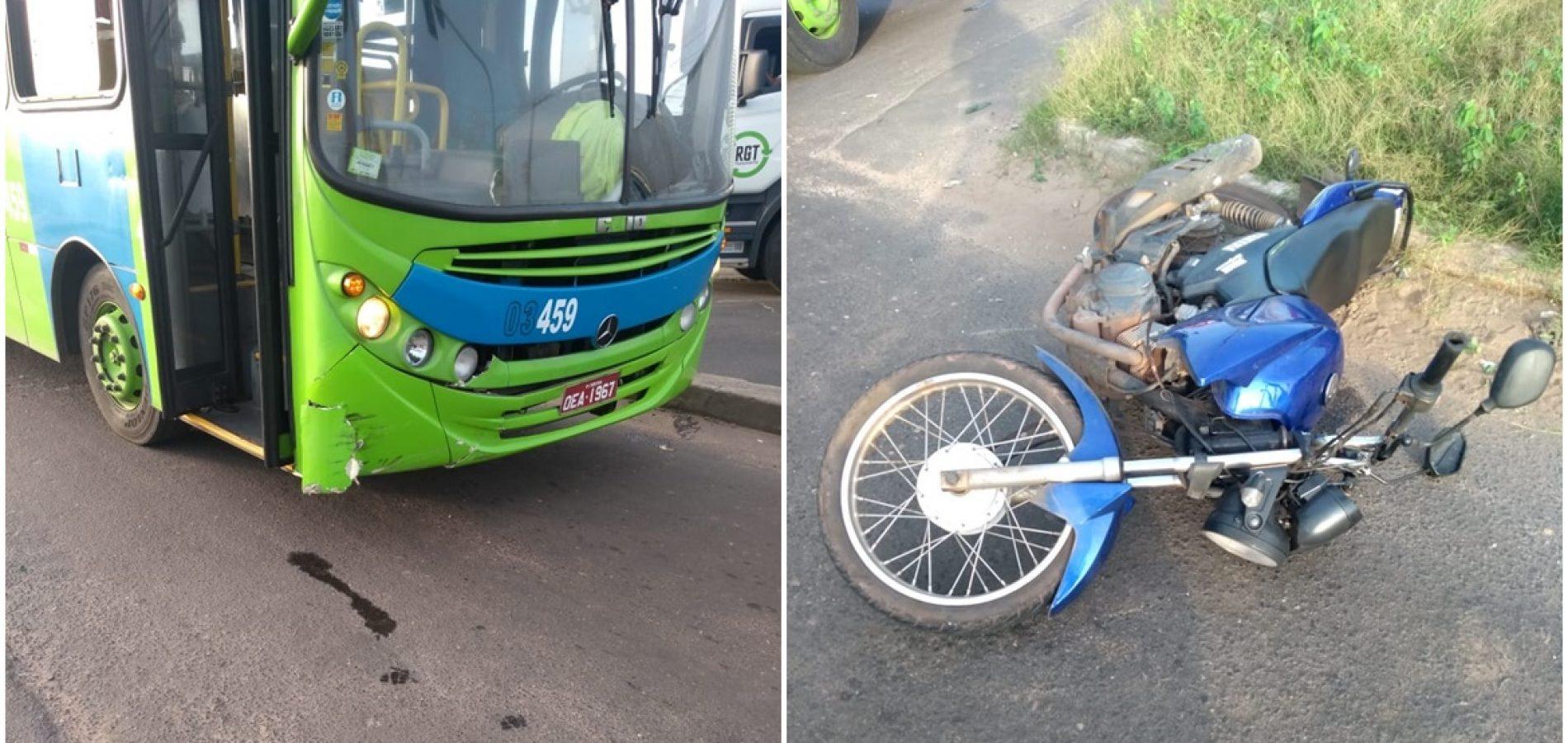Sargento da PM fica gravemente ferido em colisão com ônibus