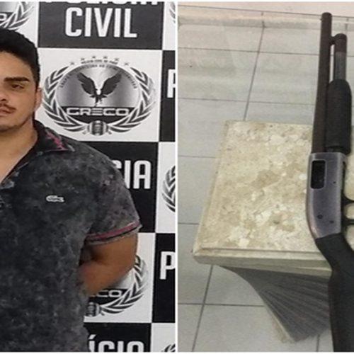 Acusado de roubos a bancos é preso com escopeta