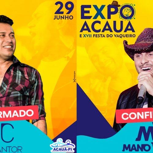 Mano Walter e Zé Cantor são as atrações confirmadas da ExpoAcauã 2019