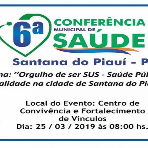Prefeitura de Santana promoverá 6ª Conferência Municipal de Saúde na próxima segunda-feira (25)
