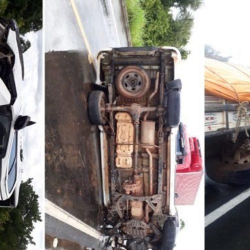 Caminhonete tomba ao colidir contra caminhão na BR-343