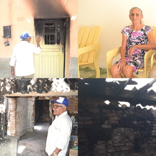 Incêndio deixa destruição e prejuízos para casal de idosos em Simões; veja fotos e vídeo