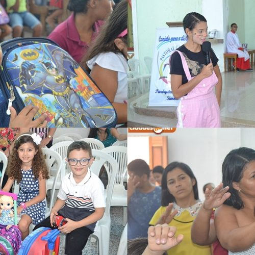 SIMÕES | Paróquia de São Simão realiza missa com benção das mochilas para crianças