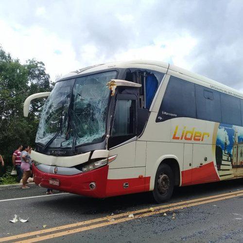 Ônibus colide na traseira de carreta na BR-230