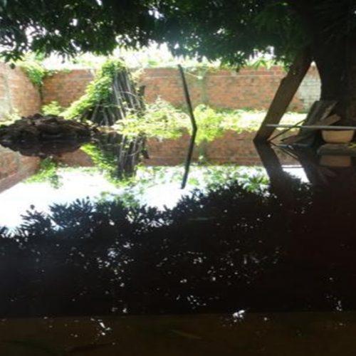 Água de lagoa ameaça invadir casas após forte chuva interior do Piauí