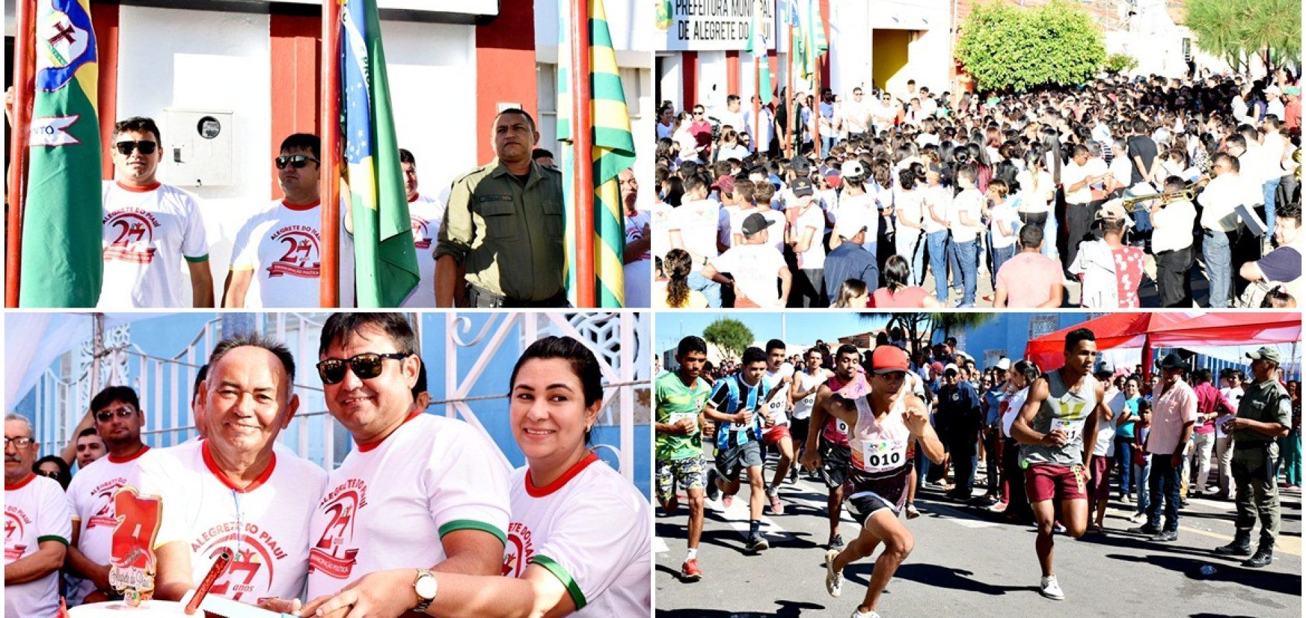 Ato Cívico, corte do bolo e maratonas abrem as comemorações dos 27 anos de Alegrete do Piauí. Veja fotos!
