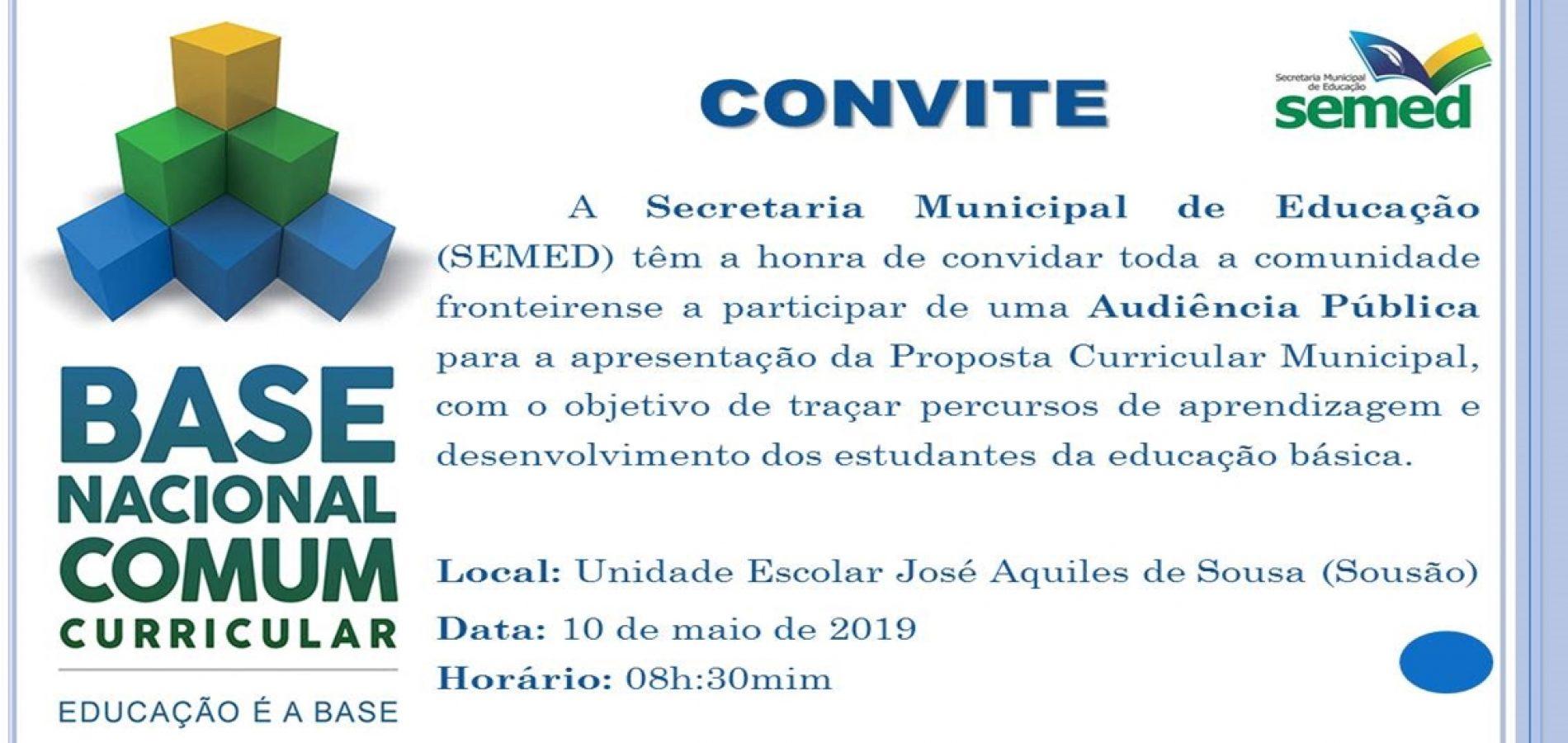 FRONTEIRAS│Secretaria Municipal de Educação promoverá Audiência Pública