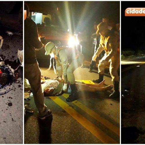 Homem fica gravemente ferido após colidir moto com carreta na BR 316 entre Marcolândia e Araripina