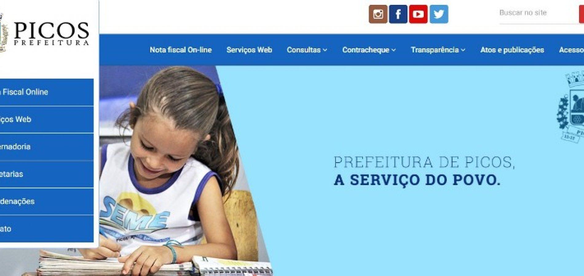 Prefeitura de Picos: sistema do site passará por manutenção nesta quinta-feira (11)