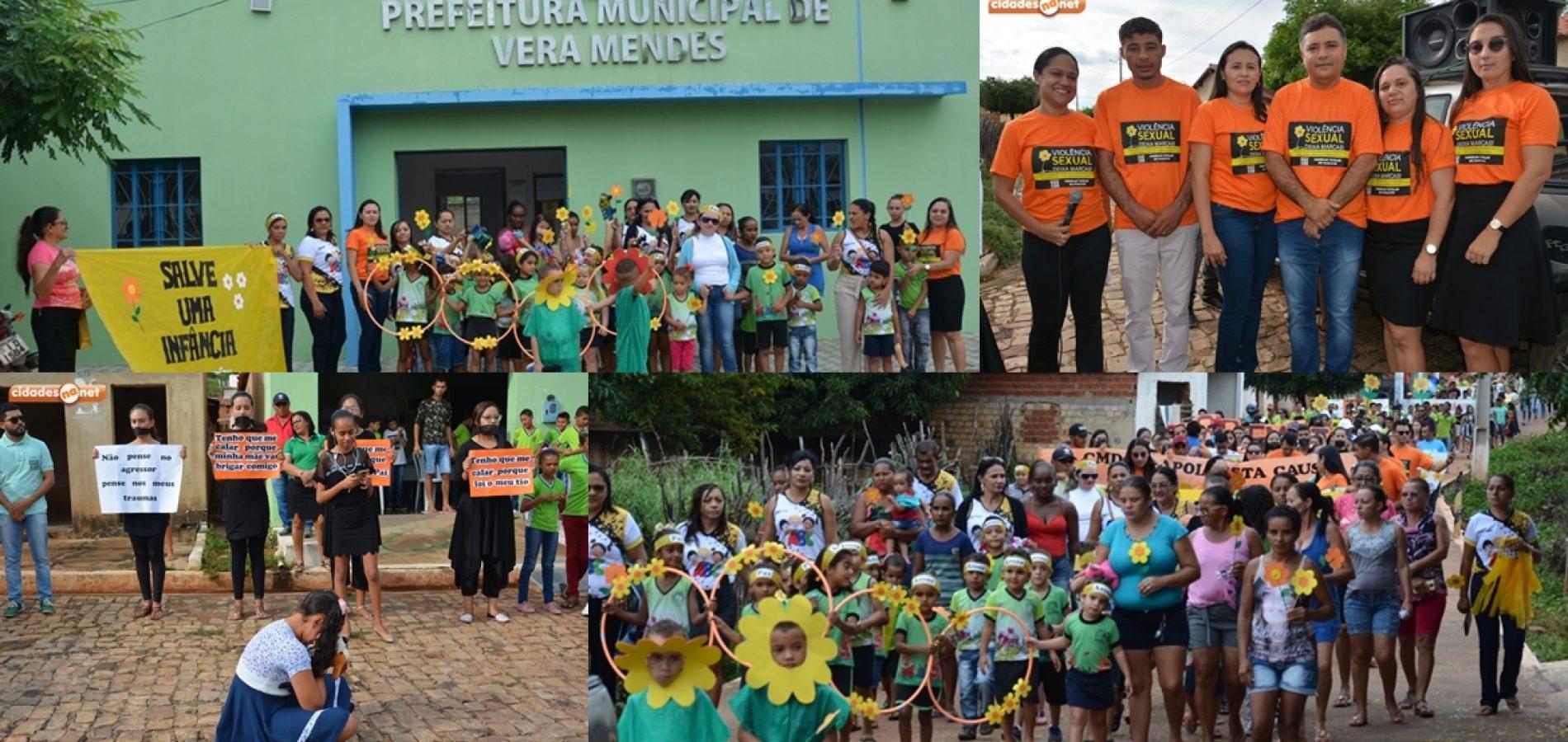Caminhada mobilizapopulação para o combate à violência sexual de crianças e adolescentes em Vera Mendes