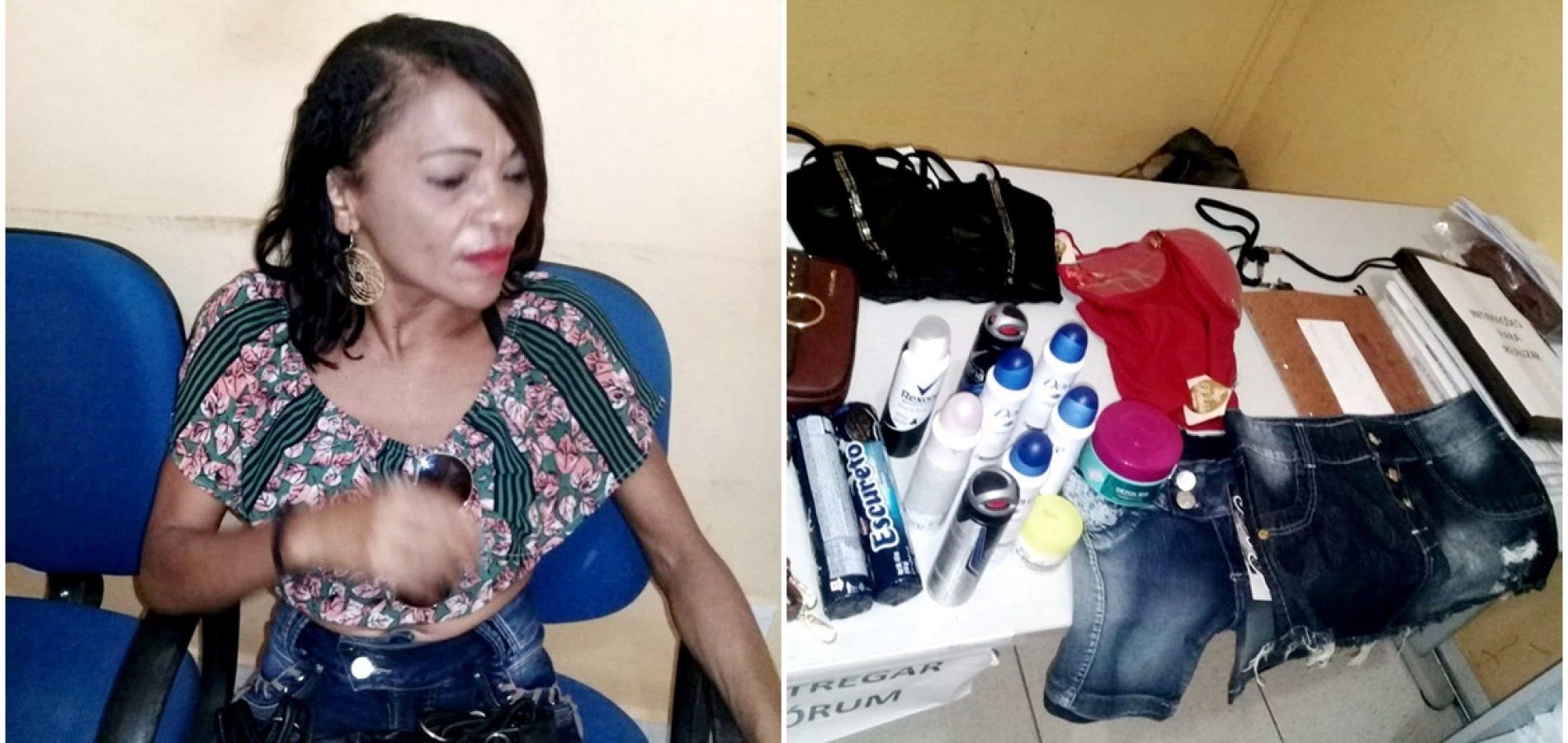 INHUMA│Mulher é presa por furtar confecções e produtos de beleza