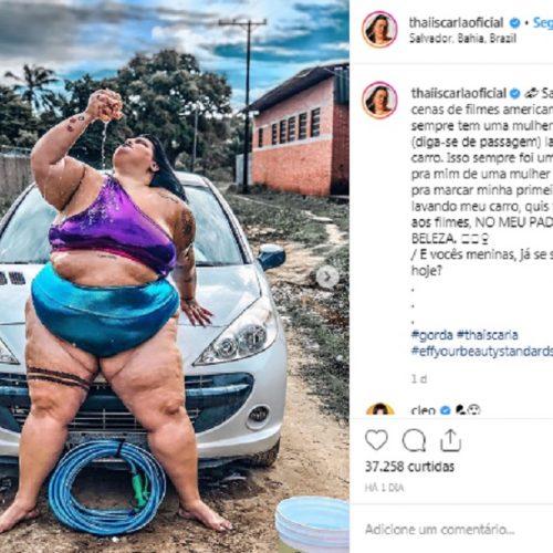 """Thais Carla sensualiza ao lavar carro: """"No meu padrão de beleza"""""""