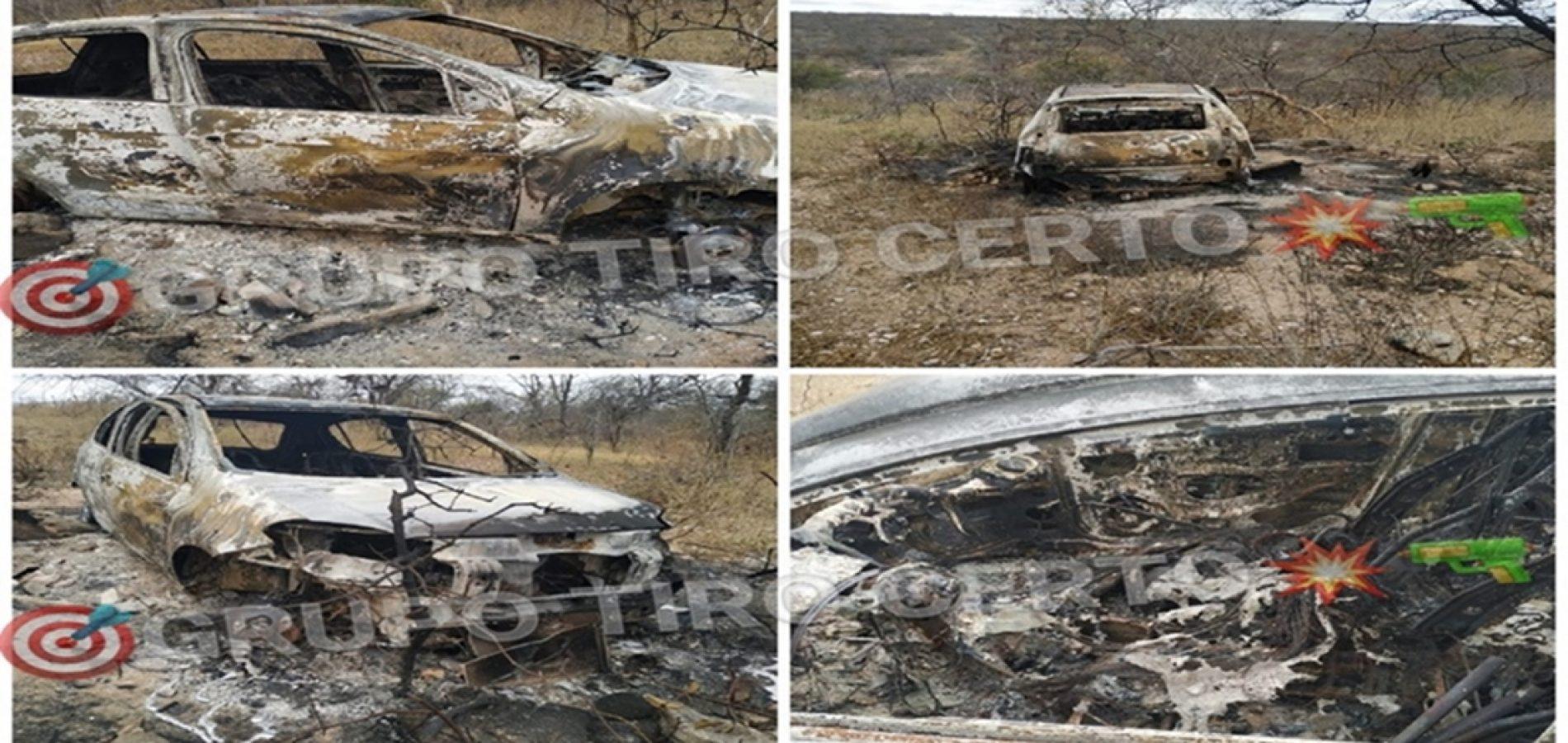 Dois corpos carbonizados são encontrados dentro de carro próximo de torre em Acauã