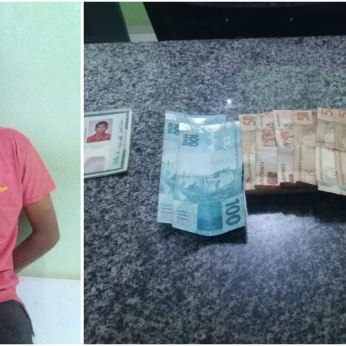 Mulher é roubada no centro de Simplício Mendes e suspeito é preso tentando fugir com dinheiro