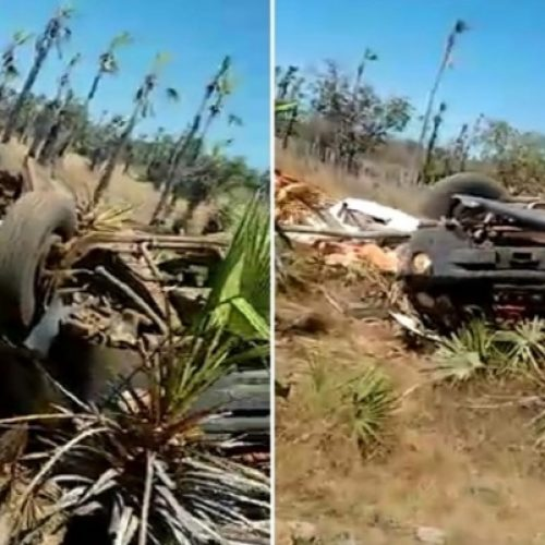 Caminhão carregado de ração 'sobra' em rodovia do Piauí e capota