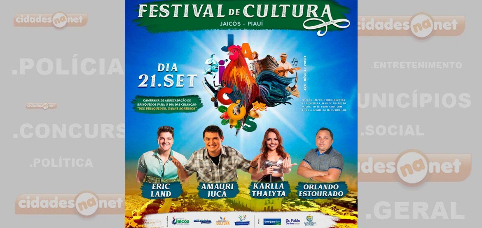 Secretaria divulga programação completa do I Festival de Cultura de Jaicós e abre inscrições para interessados em colocar barracas