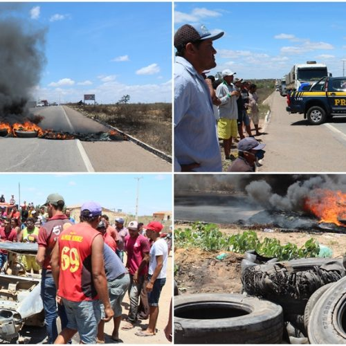 Revoltados por não cumprimento de prazo do MPT, manifestantes interditam BR-316 na divisa entre PI e PE