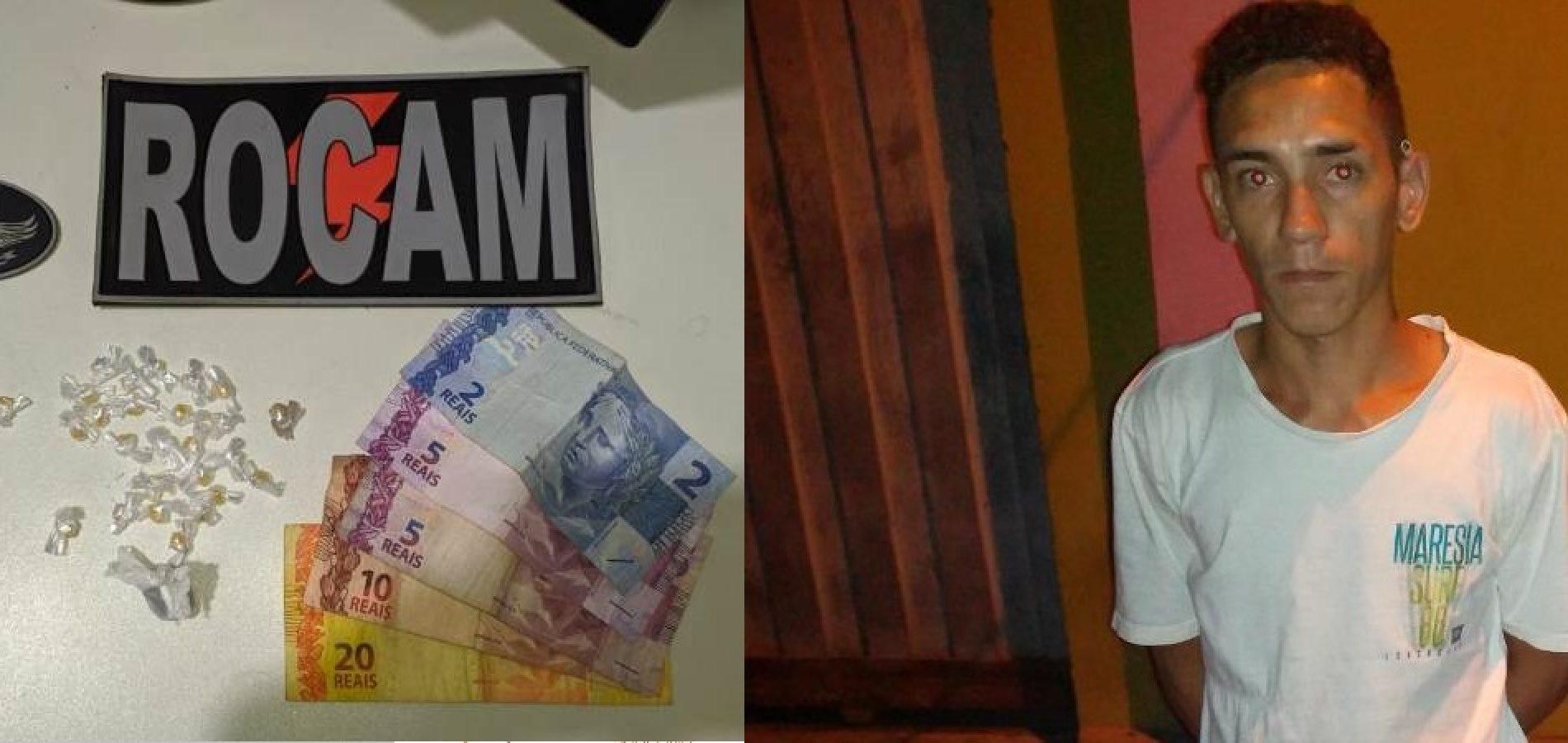 Polícia de Picos prende jovem com várias pedras de crack, maconha e dinheiro