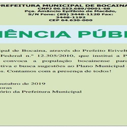 Prefeitura de Bocaina realizará audiência pública neste mês. Veja data e local!