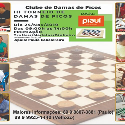 III Torneio de Damas de Picos será realizado neste domingo (24)
