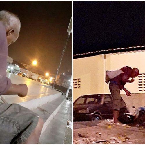 """""""Fazer o quê?"""" desabafa andarilho em Picos que procura comida no lixo"""