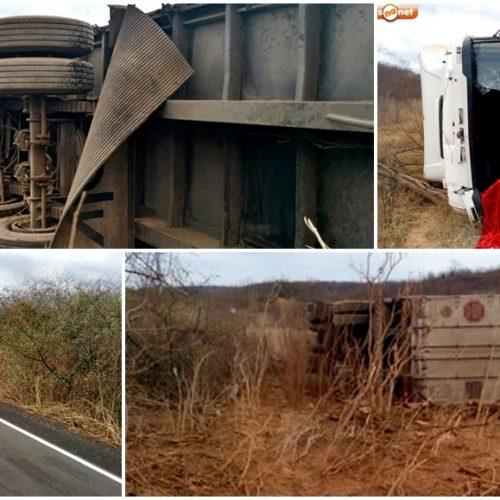 Motorista perde controle e capota caminhão na estrada que liga Itainópolis a Picos