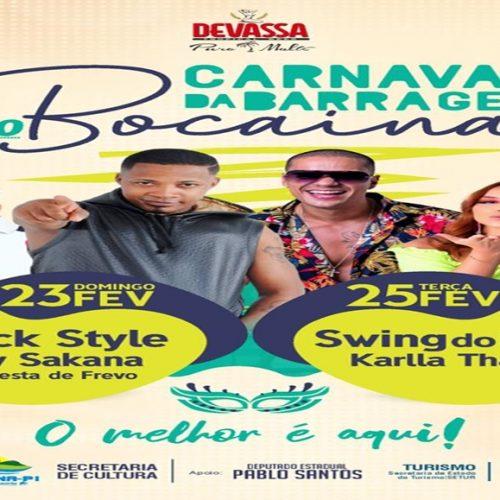 Prefeitura de Bocaina divulga programação do Carnaval da Barragem 2020. Veja!