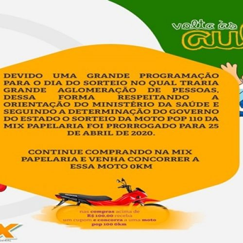 """Mix Papelaria adia sorteio da promoção """"Volta às aulas"""""""