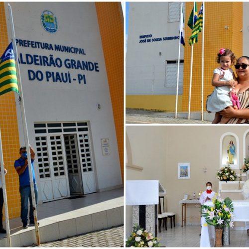 Caldeirão Grande completa 28 anos de emancipação com hasteamento das bandeiras e missa