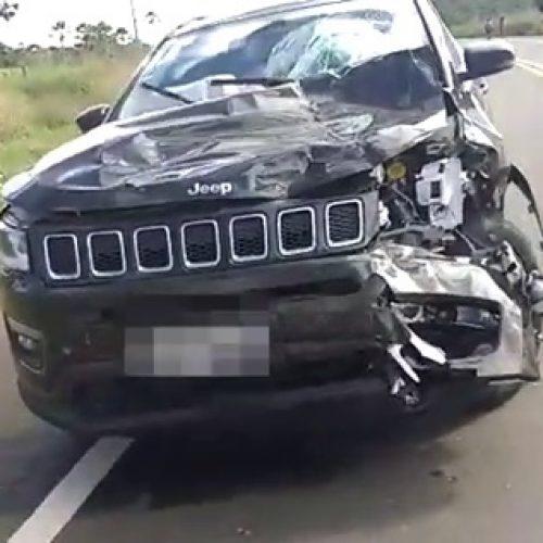 Colisão entre carro e moto deixa uma pessoa morta na BR-316