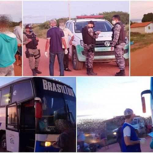 JAICÓS | PM e Vigilância Sanitária realizam barreira durante a madrugada e abordam ônibus clandestino
