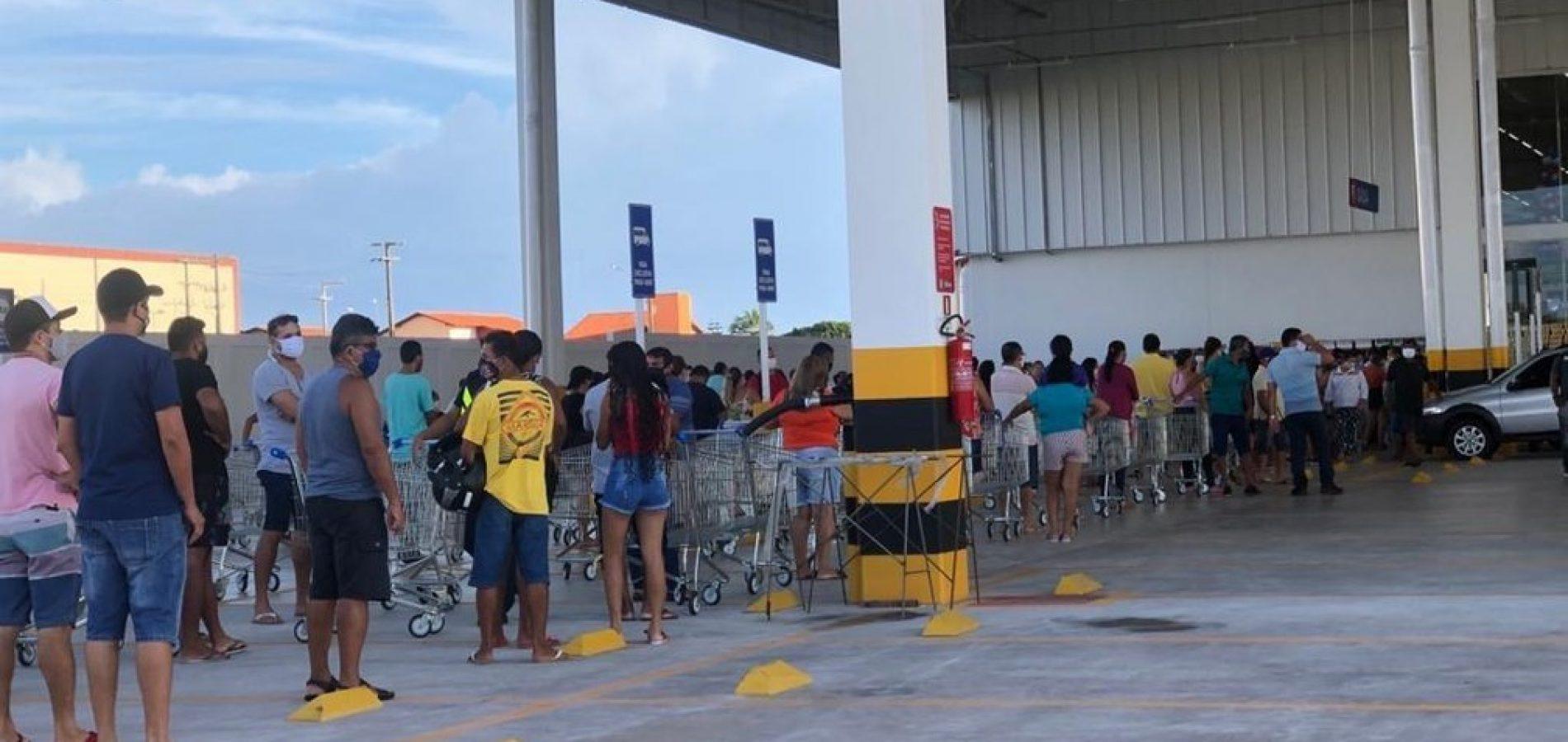 Inauguração de supermercado gera aglomeração em Parnaíba; cidade com 203 casos da Covid-19