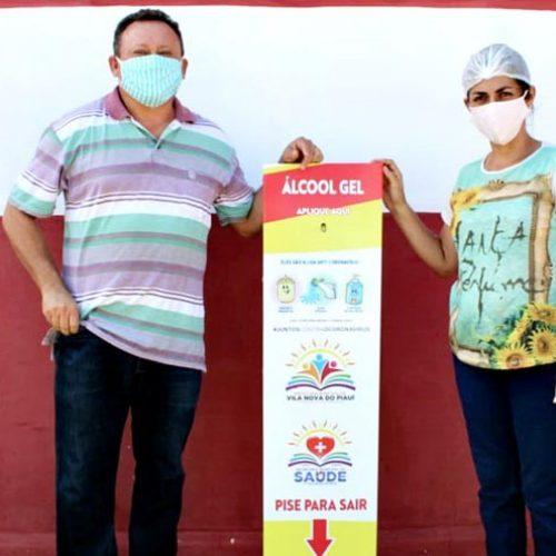 Saúde de Vila Nova distribui totens de álcool em gel em pontos da cidade