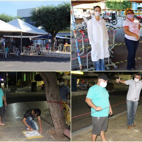 SIMÕES | Prefeitura instala tendas e mantém organização de filas com distanciamento no BB