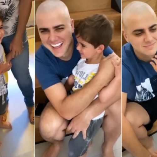 Filho leva susto ao ver Zé Neto careca e sem barba após live
