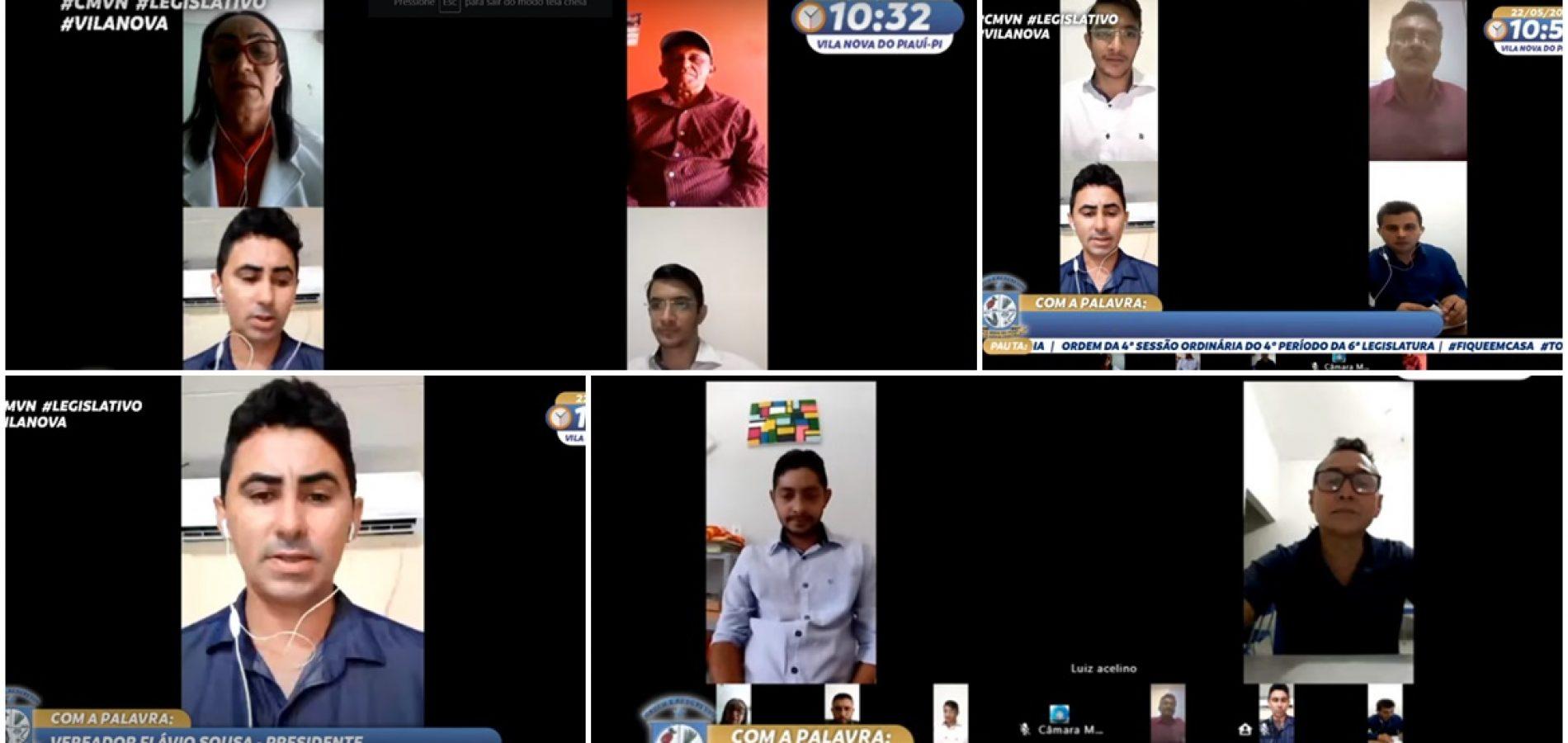 Vereadores aprovam lei e discursam durante sessão online na Câmara de Vila Nova do Piauí