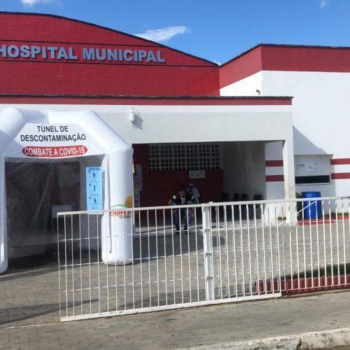 Saúde de Padre Marcos instala túnel de sanitização na entrada do hospital municipal