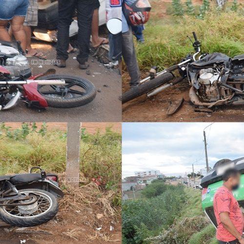 Carro atinge três motocicletas e deixa dois homens e uma mulher feridos em Paulistana