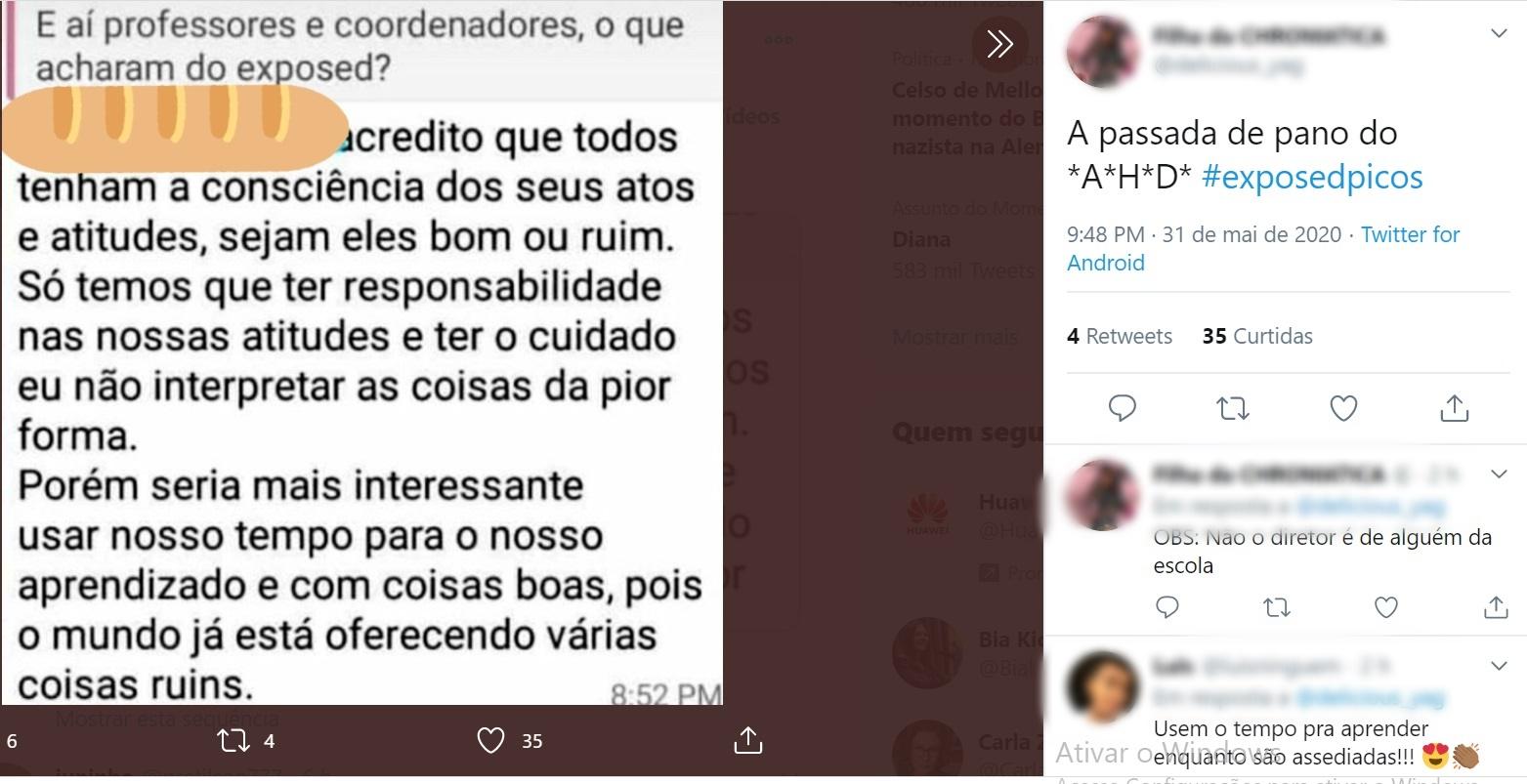 Estudantes expõem, no Twitter, assédio sexual de professores em Picos 11