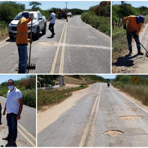 Prefeitura de Alagoinha do Piauí inicia operação 'Tapa Buracos' na PI-455