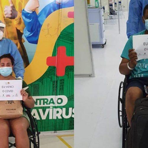 Dois pacientes são homenageados após alta do Hospital de Campanha do Verdão