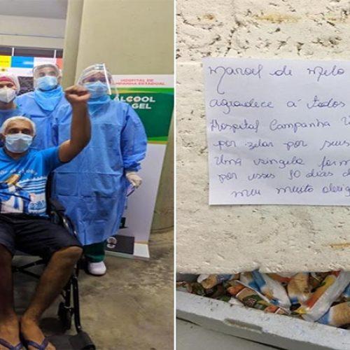 Paciente distribui picolés em hospital de campanha após vencer covid