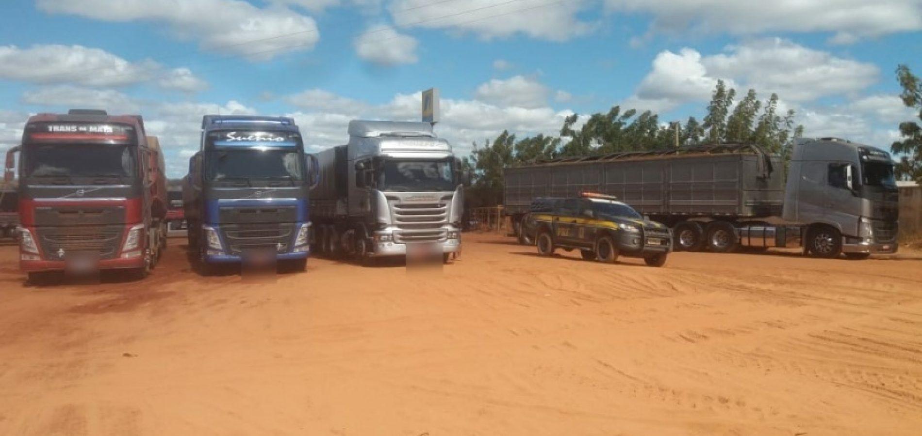 PRF apreende grande quantidade de madeira ilegal sendo transportada na BR-135