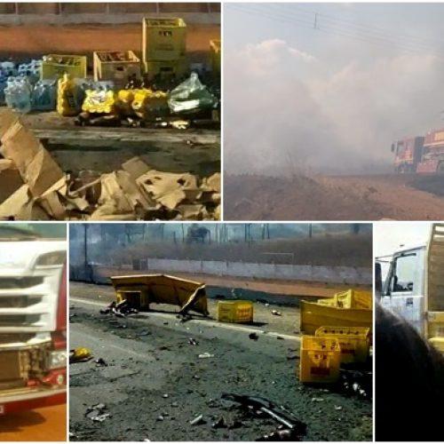 GEMINIANO | Em meio à fumaça de queimada na BR-407, motoristas perdem visão e colidem caminhões