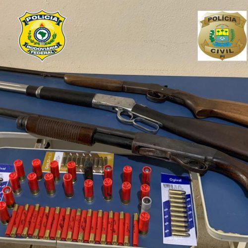 Em ação conjunta, Polícia Civil e PRF apreendem armas e munições em Itainópolis