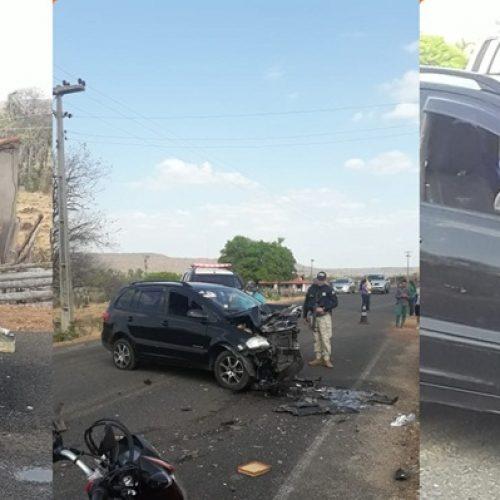 Colisão entre carro e viatura da PM deixa dois feridos em Santa Cruz do Piauí
