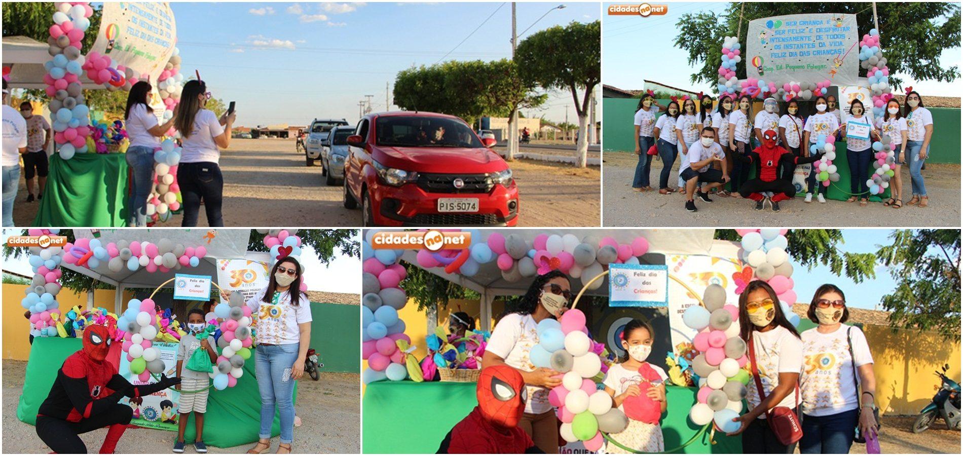 Pequeno Polegar alegra tarde de alunos com drive-thru em comemoração ao dia das crianças