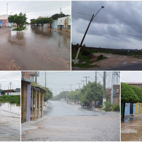 Jaicós e várias cidades da região registram fortes chuvas; barragens transbordam e ruas ficam alagadas