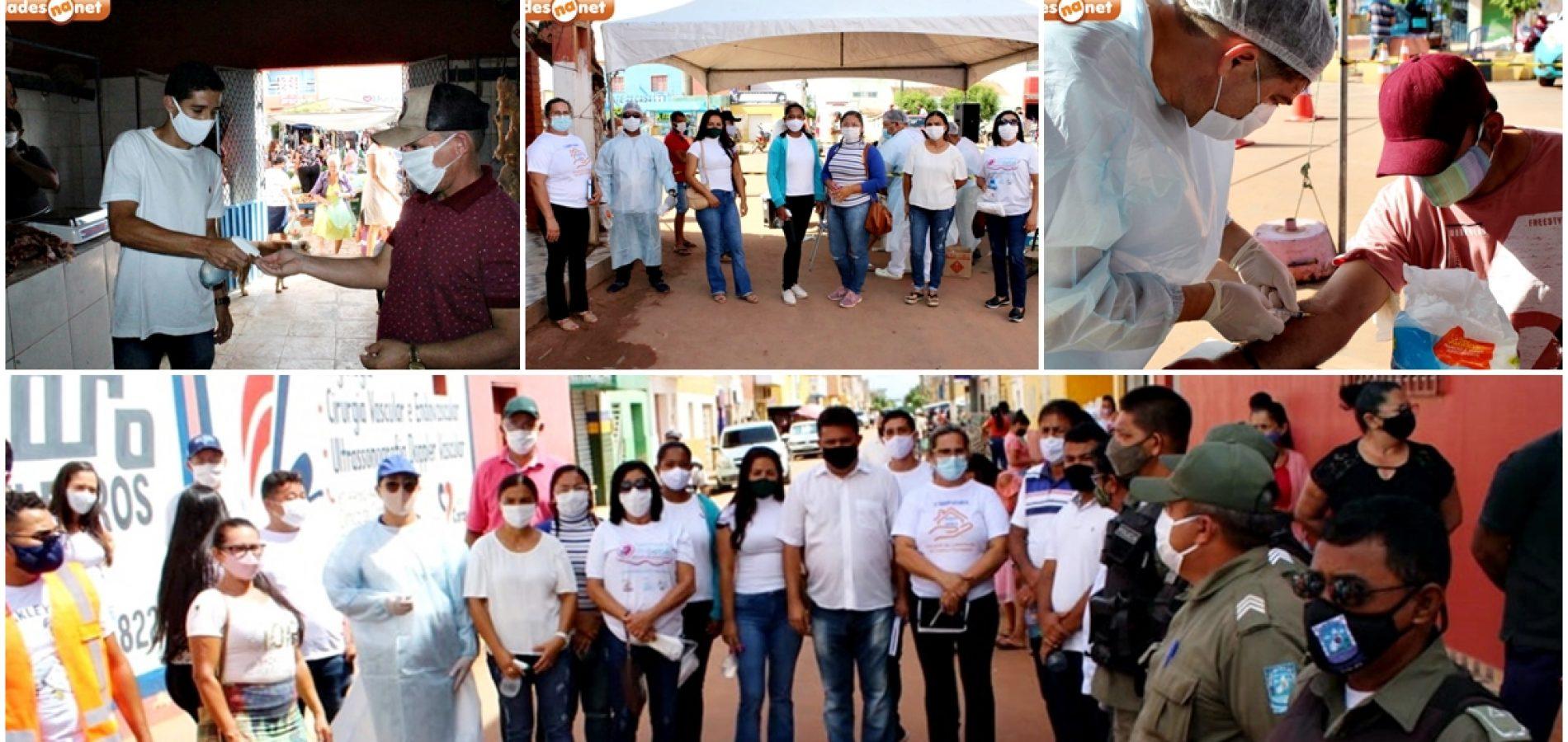 Gestão do prefeito Corinto promove ação educativa em prevenção à Covid-19 na feira livre de Marcolândia; fotos